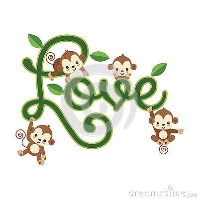 Valentines greeting card. Little monkey hanging on LOVE lettering. Vector Illustration