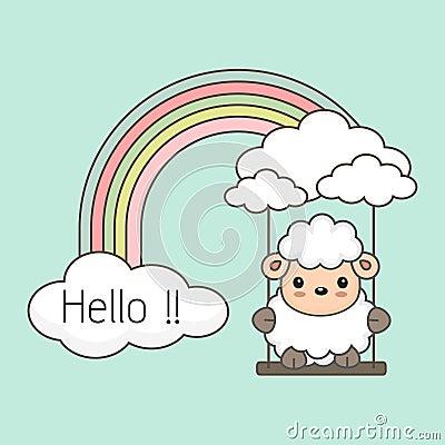 Cute sheep swing on a rainbow. Fantasy colorful vector illustration. Vector Illustration