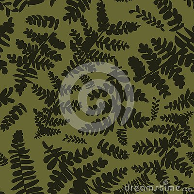 Seamless vector pattern with ferns in camouflage colors Vector Illustration