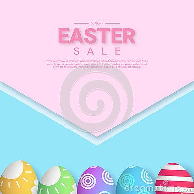 Easter sale poster. 3d egg eps 10 Cartoon Illustration