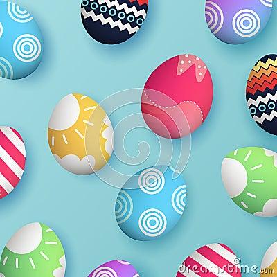 3d Easter egg, egg pattern vector eps 10 Cartoon Illustration