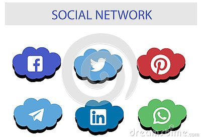 Social Network Icon Package : Top brand of social media Editorial Stock Photo