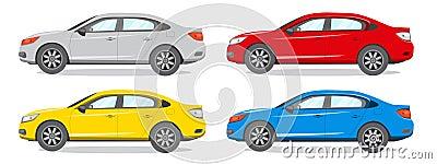 Sedan Different Color Vector Illustration. Car Icon Vector Illustration