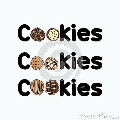 Sets of cookies logo artwork Stock Photo