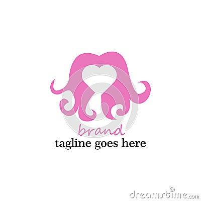 Love hair logo in fancy pink Stock Photo