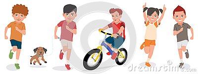 Set Of Children Play With Cheerful Faces Vector Illustration Vector Illustration
