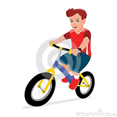 Boy Riding Bike Vector Illustration. Children Playing Bicycle Vector Illustration