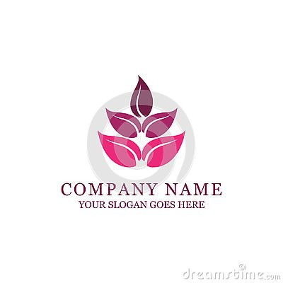 Spa and fashion style logo design with abstract flower Stock Photo