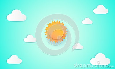 Paper art of sun and cloud on blue sky. Paper cut style, abstract background composed of white paper clouds and sun, illustration Vector Illustration