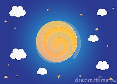 Moon and stars in midnight, paper art style background flat design vector illustration Vector Illustration