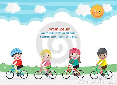 Happy kids on bicycles, Children riding bike, Healthy cycling with kids in park, group of child biking on background. Template for Vector Illustration
