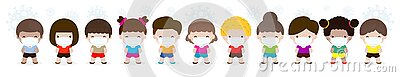 Coronavirus 2019-nCoV or Covid-19 disease prevention concept with group of cute kids boy and girl wearing face mask isolated Vector Illustration