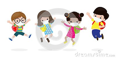 Back to school for new normal lifestyle concept. happy kids jumping wearing face mask protect corona virus or covid 19, group Vector Illustration