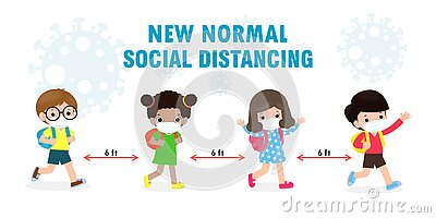 Back to school for new normal lifestyle concept. happy kids wearing face mask and social distancing protect coronavirus covid 19 Vector Illustration
