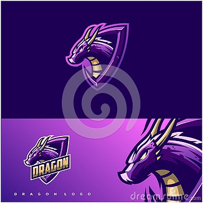 Awesome dragon logo design Vector Illustration