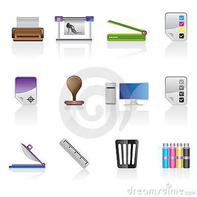 Print industry icon set