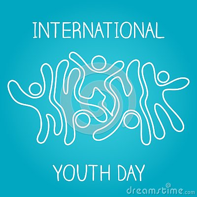 Stock vector international youth day,12 August. iconic icon jumping and dancing on blue background Stock Photo