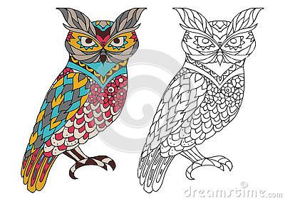 Printable coloring book page for adults - owl design, activity to older children and relax adult. vector with Islam Vector Illustration