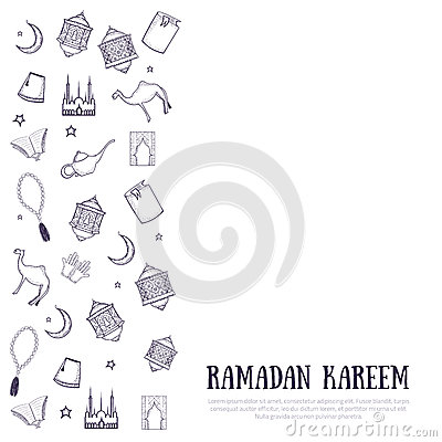picture relating to Ramadan Cards Printable identified as Printable Minimalistic Ramadan Kareem Greeting Card Vector