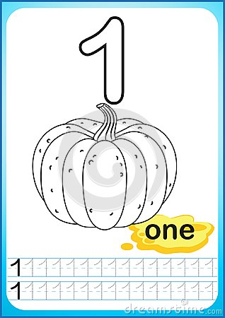 Free Printable Worksheet For Kindergarten And Preschool. Exercises For Writing Numbers. Simple Level Of Difficulty. Restore Dashed Line Stock Photo - 123636630