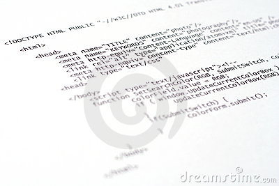 Printed internet html code  technology background