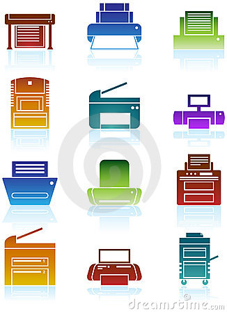 Free Printer / Copy Machine Icons Royalty Free Stock Image - 9416916