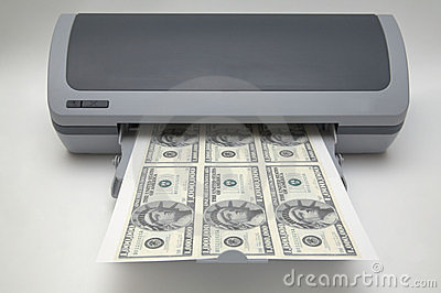 Printer met 1000000 dollarsrekeningen