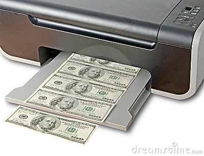 Printer printing fake dollar