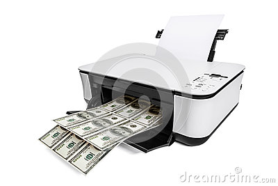 Printer printing fake dollar bills