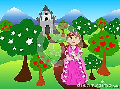 Prinzessin und Schlosslandschaft