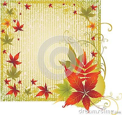 Priorità bassa di Grunge con i fogli di autunno. Ringraziamento