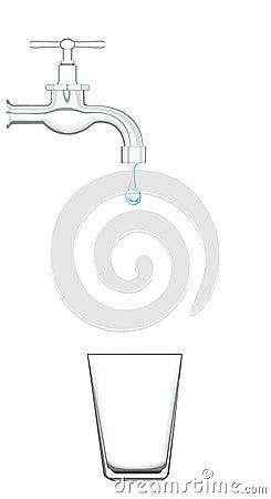 Prise d eau avec de l eau égoutture
