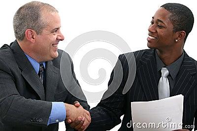 Prise de contact d hommes d affaires