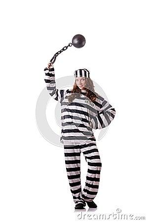 Prisioneiro em uniforme listrado