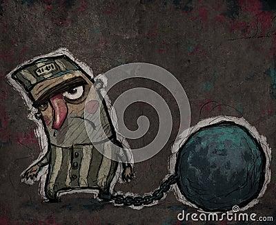 Prisioneiro com uma bola de metal enorme