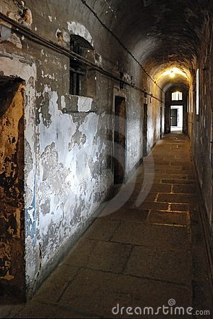 Prison corridor with cells