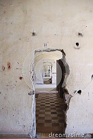 Prison doorway in grunge wall