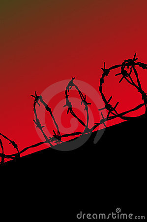 Prison fence silhouette on red gradient sky