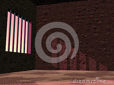 Prison jail by sunset - 3D render