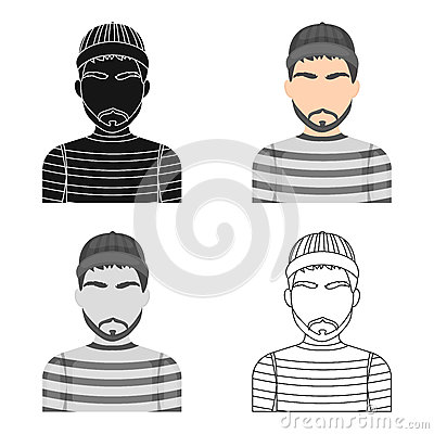 Prisoner in the prison robe. The offender is punished.Prison single icon in cartoon style vector symbol stock Vector Illustration