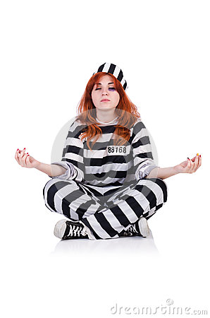 Prisoner in striped uniform