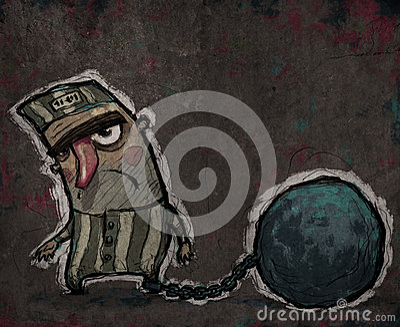 Prisonnier avec une boule énorme en métal