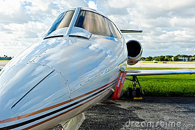 Private airplane jet in tamrac