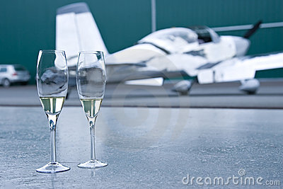 Private celebration champagne airplane