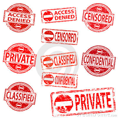 Private and confidential rubber stamps