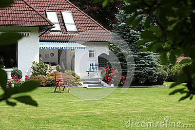 Private house with landscaped garden