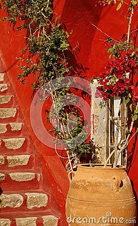 Private house yard. Santorini island, Greece