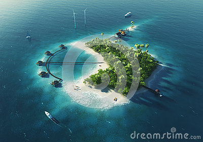 Private island. Paradise tropical island
