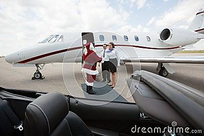 Private Jet Crew Greet Santa Royalty Free Stock Photo  Image 35605735