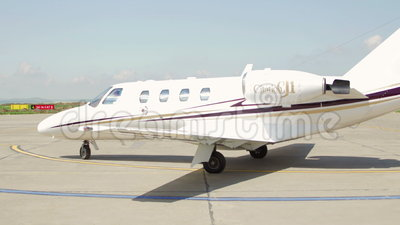 Private jet plane which landed at the international airport Danube Delta. TULCEA, ROMANIA - APRIL 27: Private jet plane which landed at the international airport